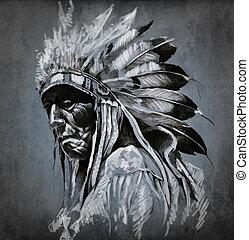 tatuaggio, testa, sopra, scuro, indiano americano, fondo, ritratto, arte