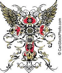 tatuaggio, tribale, ccross, gotico