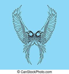 tatuaggio, tribale, vettore, arte, uccelli