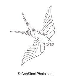 tatuaggio, volare, rondine, rapido, o, design.