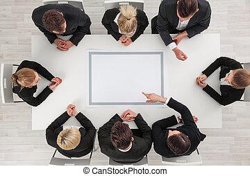 tavola affari, intorno, vuoto, persone