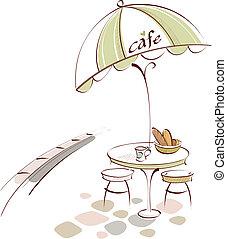 tavola caffè, sedia, esterno