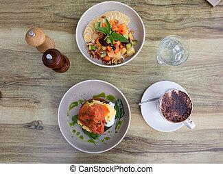 tavola colazione, delizioso, piastre