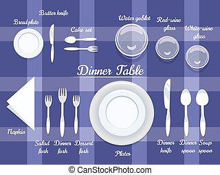tavola, coltelleria, cenando