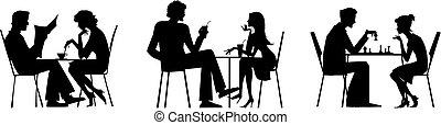tavola, coppia, silhouette