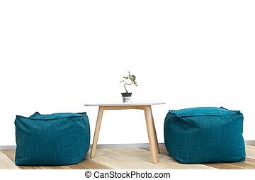 tavola, interno, bianco, wa, sedia, albero, solated, disegno, moderno
