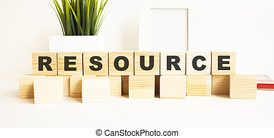 tavola., legno, cubi, lettere, parola, fondo., bianco, resource.