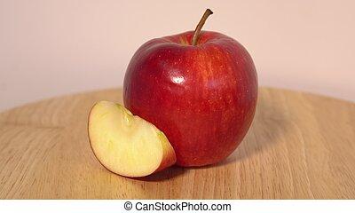 tavola legno, fetta, mela, rosso