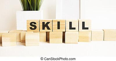 tavola., legno, skill., cubi, lettere, parola, fondo., bianco
