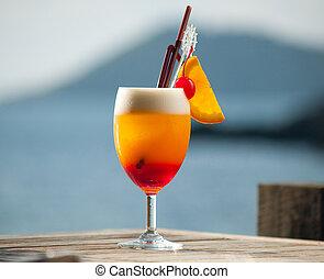 tavola legno, succoso, cocktail