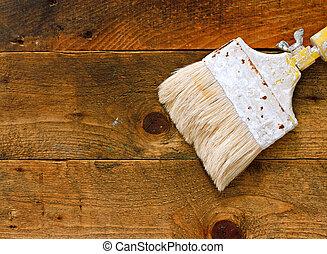 tavola legno, usato, vecchio, pennello