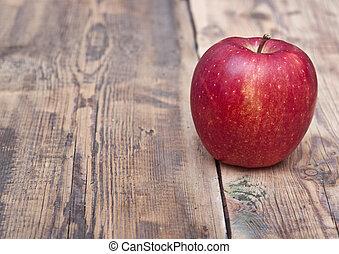 tavola legno, vecchio, mela, rosso