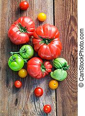 tavola legno, vecchio, pomodori, maturo
