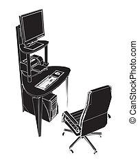 tavola, posto, lavorando ufficio