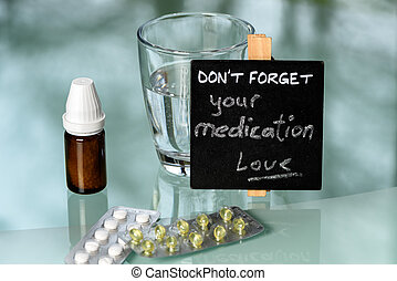 tavola, promemoria, medicazione, glas