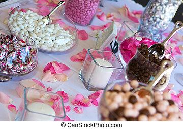 tavola., ricezione, caramella, matrimonio