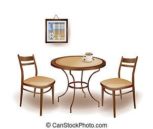 tavola, sedie, rotondo, illustrazione