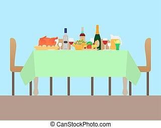 tavola, vettore, illustrazione, festivo