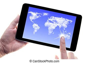 tavoletta, affari, calcolare, comunicazioni, digitale, nuvola
