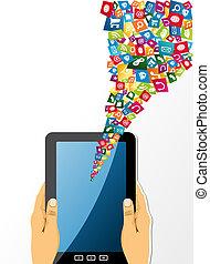 tavoletta, app, prese, icons., pc, mani umane