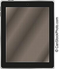 tavoletta, astratto, computer, sfondo nero, pc), bianco, (tablet