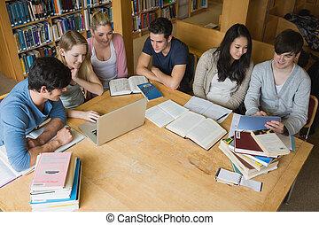 tavoletta, biblioteca, studenti, laptop, cultura