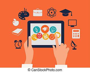 tavoletta, concept., icons., toccante, vector., mani, e-imparando, educazione