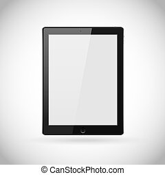 tavoletta, fondo., eps10, illustrazione, schermo, pc, realistico, computer, vettore, vuoto, bianco, isolato