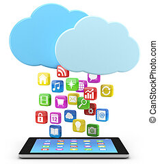 tavoletta, icone, app, pc, digitale, nuvola