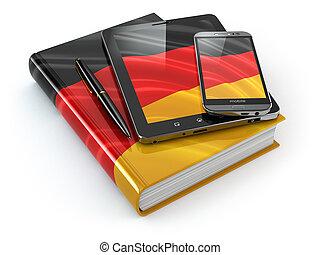 tavoletta, libro, mobile, congegni, pc, learning., tedesco, smartphone