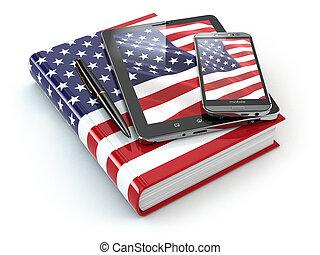 tavoletta, mobile, pc, americano, inglese, smartphone, learning., congegni
