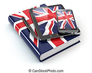 tavoletta, mobile, pc, libro, inglese, smartphone, learning., congegni