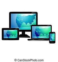 tavoletta, monitor, computer, laptop