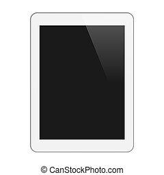 tavoletta, realistico, isolato, illustrazione, verticale, pc, vettore, fondo., screen., vuoto, bianco, white.