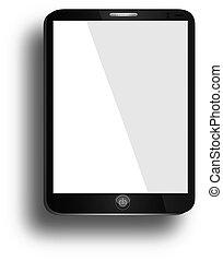 tavoletta, realistico, schermo, isolato, calcolatore pc, fondo, vuoto, bianco