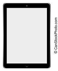 tavoletta, realistico, schermo, isolato, calcolatore pc, fondo., vuoto, bianco