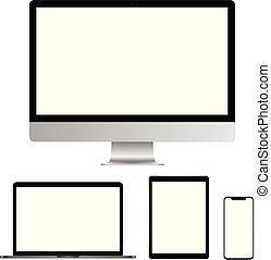 tavoletta, realistico, schermo, isolato, laptop, telefono, computer, fondo, vuoto, bianco, far male