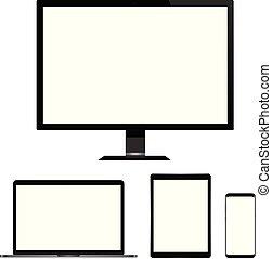 tavoletta, realistico, schermo, isolato, laptop, telefono, computer, fondo., vuoto, bianco, far male