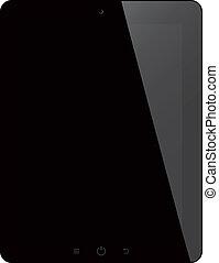 tavoletta, schermo, isolato, computer, sfondo nero