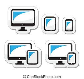 tavoletta, smartphone, computer, icone