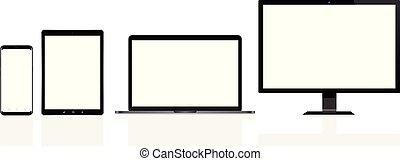 tavoletta, telefono, mobile, moderno, laptop, calcolatore pc, digitale