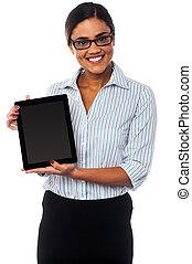 tavoletta, vendite, vendita, pc, rappresentante, visualizzazione