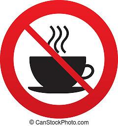 tazza caffè, button., segno, caldo, icon.