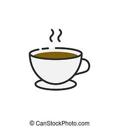 tazza caffè, contorno, icona