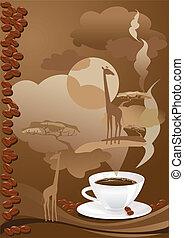 tazza caffè, disegno, astratto
