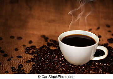tazza caffè, fagioli, arrostito