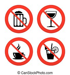 tazza caffè, icons., vetro, birra, signs., bibite