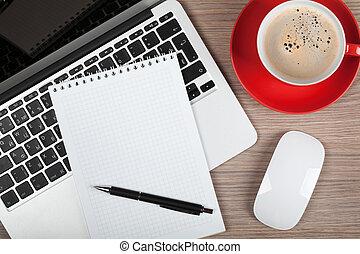 tazza caffè, laptop, blocco note, vuoto, sopra