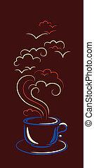 tazza caffè, nubi, steamy