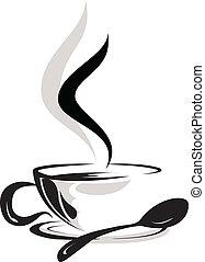 tazza caffè, silhouette, amante
